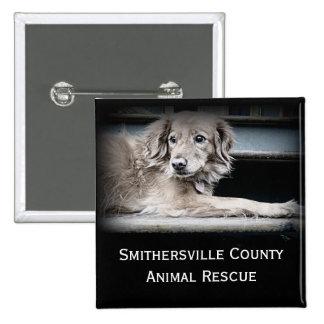 Botão animal do salvamento com foto do cão botons