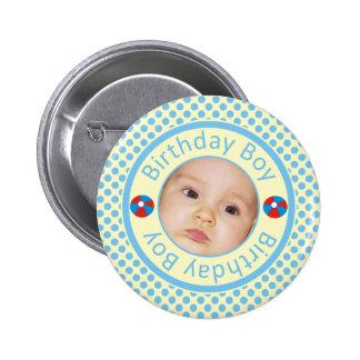 Botão azul de Pinback da foto do menino do Botons