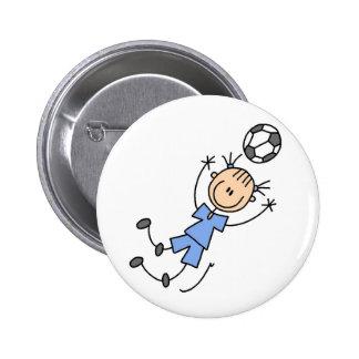 Botão azul do jogador de futebol da menina botons