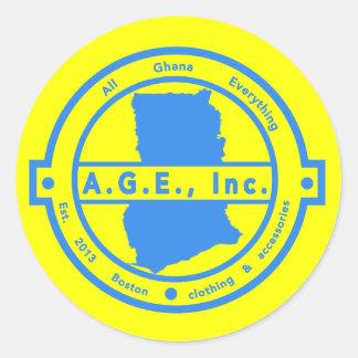 Botão azul do logotipo de A.G.E., Inc. Adesivo