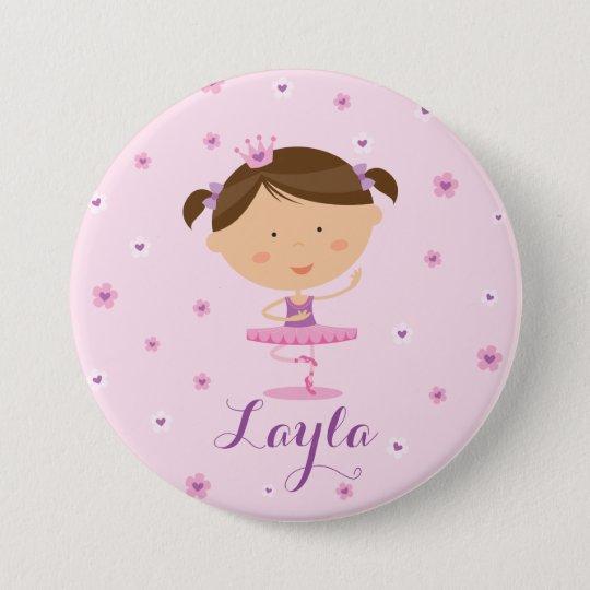 Botão bonito da menina da bailarina do dançarino bóton redondo 7.62cm