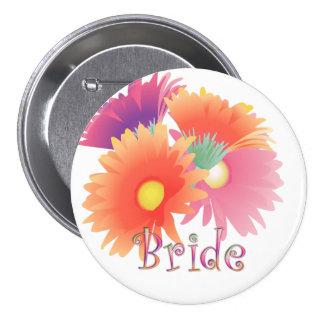 Botão brilhante do casamento da noiva da margarida bóton redondo 7.62cm