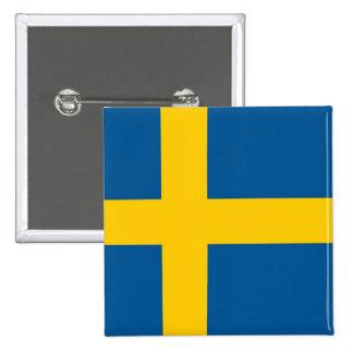 Botão com a bandeira da suecia bóton quadrado 5.08cm