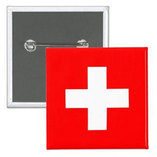 Botão com a bandeira da suiça bóton quadrado 5.08cm