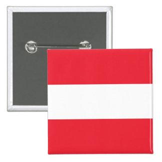Botão com a bandeira de Áustria Bóton Quadrado 5.08cm