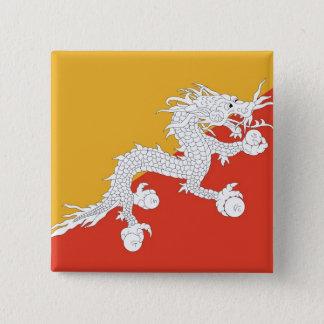 Botão com a bandeira de Bhutan Bóton Quadrado 5.08cm