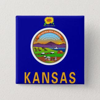 Botão com a bandeira de Kansas Bóton Quadrado 5.08cm