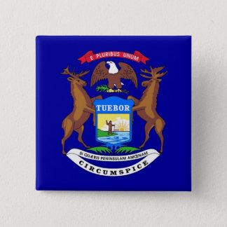 Botão com a bandeira de Michigan Bóton Quadrado 5.08cm