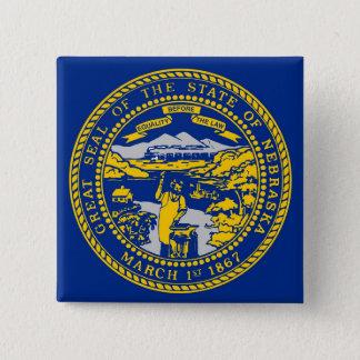 Botão com a bandeira de Nebraska Bóton Quadrado 5.08cm