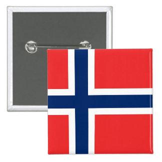 Botão com a bandeira de Noruega Bóton Quadrado 5.08cm
