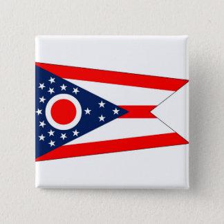 Botão com a bandeira de Ohio Bóton Quadrado 5.08cm
