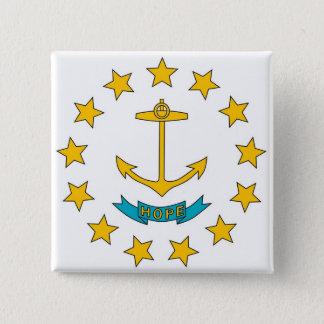 Botão com a bandeira de Rhode - ilha Bóton Quadrado 5.08cm