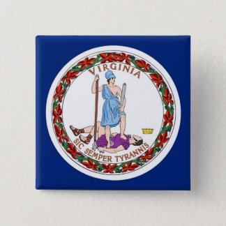 Botão com a bandeira de Virgínia Bóton Quadrado 5.08cm