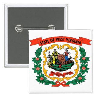 Botão com a bandeira de West Virginia Bóton Quadrado 5.08cm