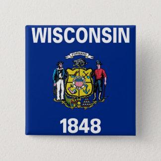 Botão com a bandeira de Wisconsin Bóton Quadrado 5.08cm