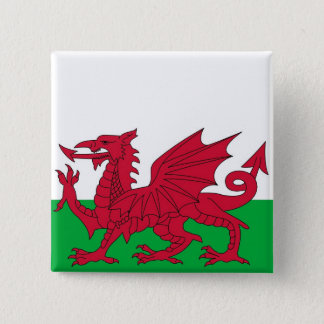 Botão com a bandeira do Wales Bóton Quadrado 5.08cm