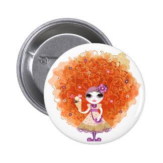 Botão com caráter engraçado da menina bóton redondo 5.08cm