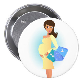 Botão com menina grávida/amarelo bóton redondo 7.62cm