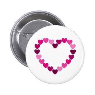 Botão cor-de-rosa do coração dos corações bóton redondo 5.08cm