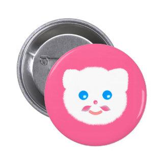 Botão cor-de-rosa engraçado bonito do gato do bóton redondo 5.08cm