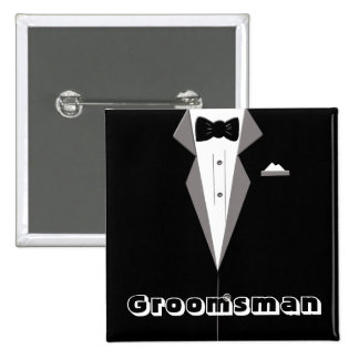Botão da arte do smoking do padrinho de casamento bóton quadrado 5.08cm