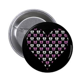 botão da borboleta do coração do coração boton