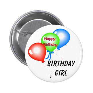 Botão da menina do aniversário bóton redondo 5.08cm