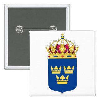Botão de brasão da suecia bóton quadrado 5.08cm