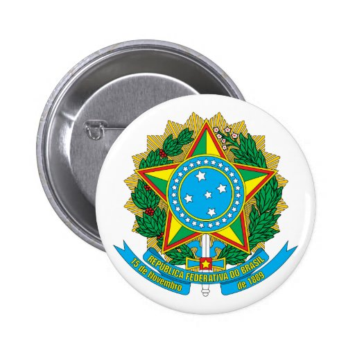 Botão de brasão de Brasil Pins