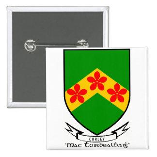 Botão de brasão do sobrenome de Curley/pino Botons