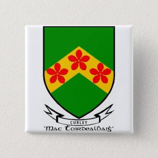 Botão de brasão do sobrenome de Curley/pino Bóton Quadrado 5.08cm
