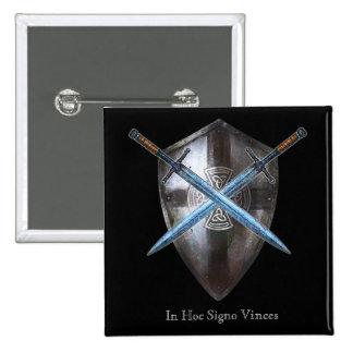 Botão de brasão - em Signo hoc Vinces Bóton Quadrado 5.08cm