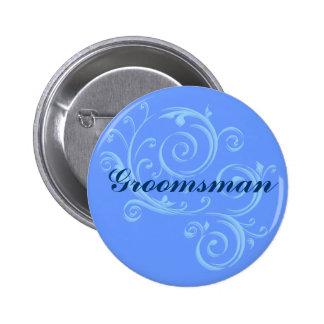 Botão de rolo azul do padrinho de casamento bóton redondo 5.08cm