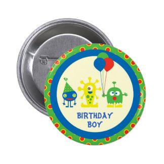 Botão do aniversário da festança do monstro bóton redondo 5.08cm