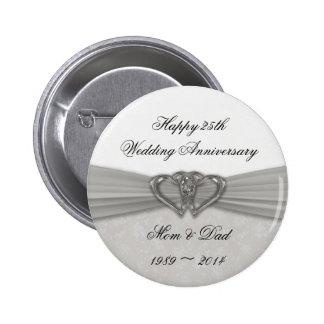 Botão do aniversário de casamento do damasco 25o bóton redondo 5.08cm
