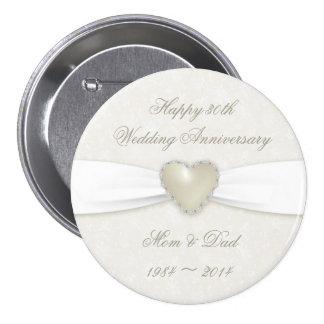 Botão do aniversário de casamento do damasco 30o bóton redondo 7.62cm