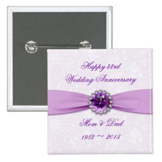 Botão do aniversário de casamento do damasco 3ó bóton quadrado 5.08cm