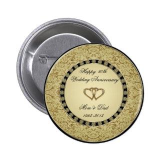 Botão do aniversário de casamento dourado bóton redondo 5.08cm