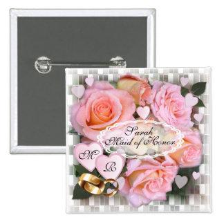 Botão do casamento do ~ dos rosas e dos corações bóton quadrado 5.08cm