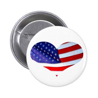 Botão do coração da bandeira americana bóton redondo 5.08cm