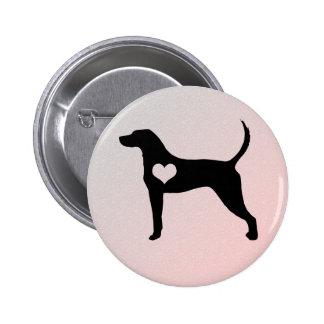 Botão do coração do Coonhound do inglês americano Bóton Redondo 5.08cm