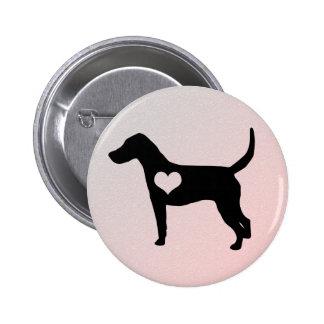 Botão do coração do Foxhound americano Bóton Redondo 5.08cm