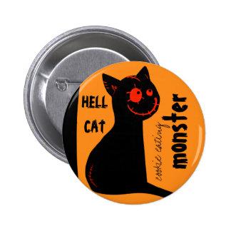 botão do Dia das Bruxas do gato preto do inferno Pins