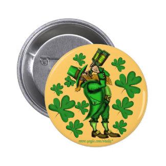 Botão do dia de St Patrick engraçado do leprechaun Bóton Redondo 5.08cm