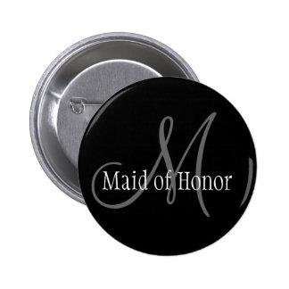 Botão do monograma do casamento da madrinha de cas bóton redondo 5.08cm