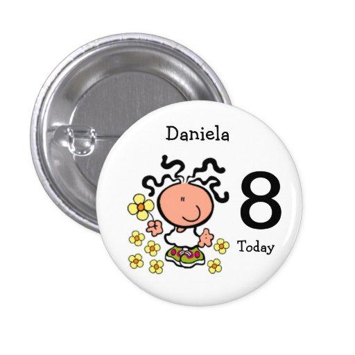 Botão do nome e da idade do aniversário dos desenh pins