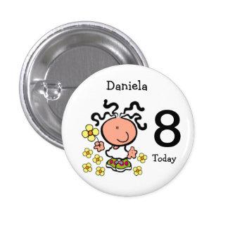 Botão do nome e da idade do aniversário dos desenh bóton redondo 2.54cm