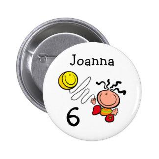 Botão do nome e da idade do aniversário dos desenh bóton redondo 5.08cm