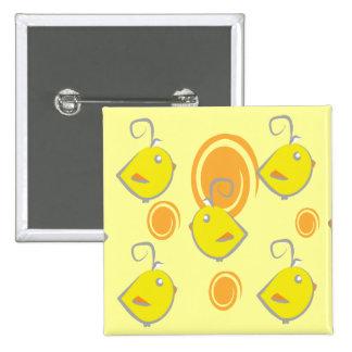 botão do teste padrão do amarelo do pássaro de beb pins