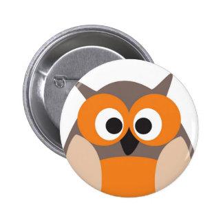 Botão engraçado da coruja dos desenhos animados ol bóton redondo 5.08cm